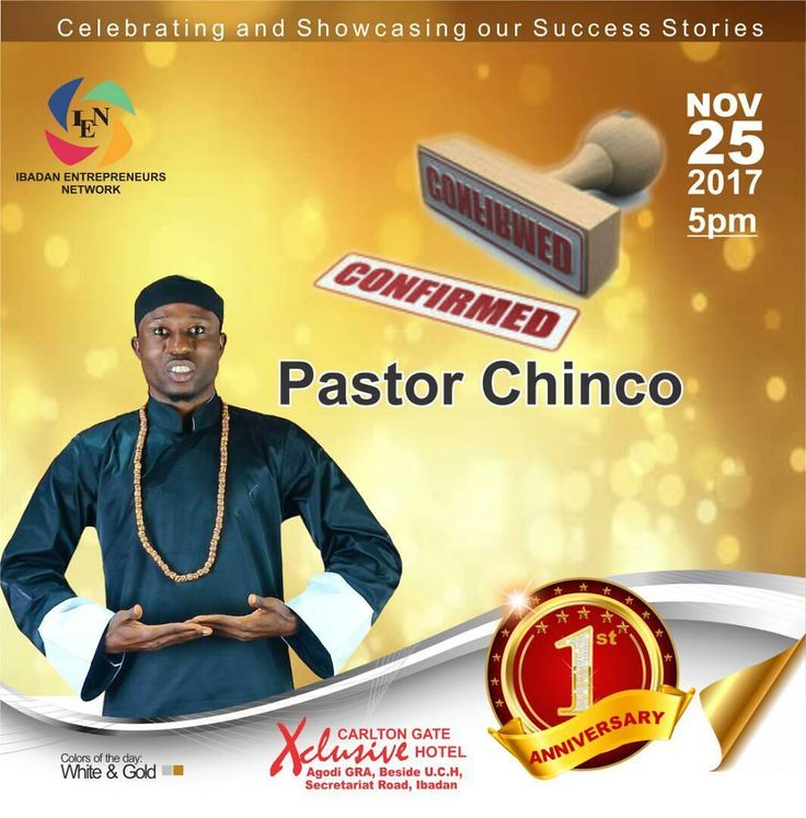 Guess what? Pastor Chinco will be performing this Saturday at the IEN @1 anniversary.  Don't be told. Call for your ticket today. Its no more news that Ibadan would be having important guest this weekend courtesy of Ibadan Entrepreneurs Network (IEN). It's 2 days to go!!! Don't miss the fun. Get your ticket today.  Call 08028834848  Date: November 25 Time: 5pm  Regular ticket. N5000 VIP ticket N50000 #Ibadanpreneurs #IEN@1 #Enterpreneurs #Ibadanevents