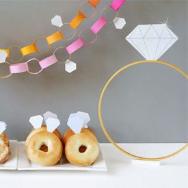 Diamonds are a fun theme for a DIY bridal shower. Lots of ideas for crafting up a party of your own!: Shower Ideas, Diamonds Theme, Engagement Parties, Diamonds Bridal, Theme Bridal Shower, Diamonds Rings, Donuts, Parties Ideas, Paper Chains