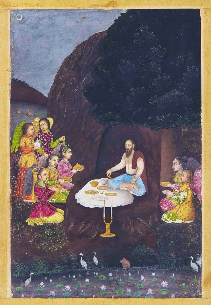 Ibrahim ibn Adham (Abou ben Adhem!) visited by Angels. Provincial Mughal, 1730. Found on Don't Panic's Twitter page.