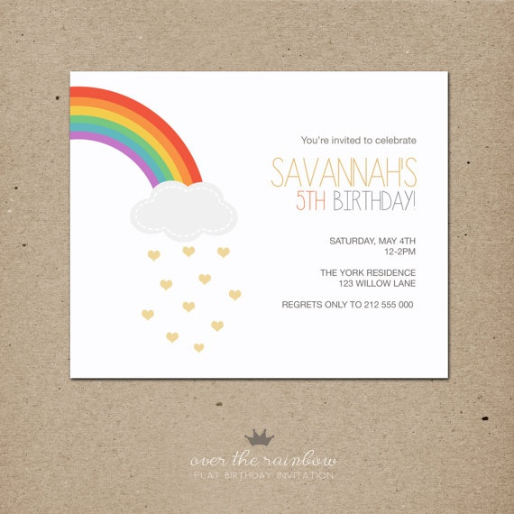 over the rainbow: birthday invitation                                                                                                                                                     More