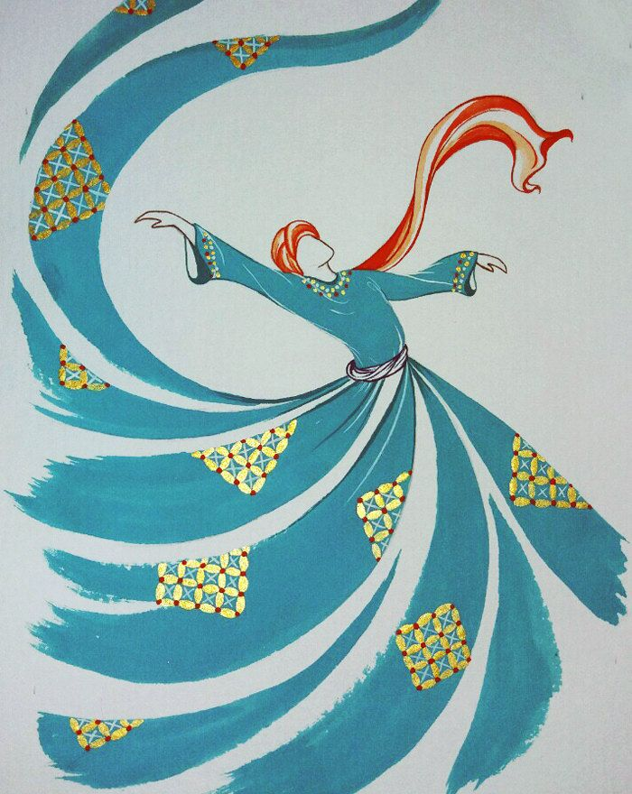 40% DISCOUNT! Original Painting Whirling Dervish Sufi Dance Rumi Miniature by AEDesignHouse on Etsy