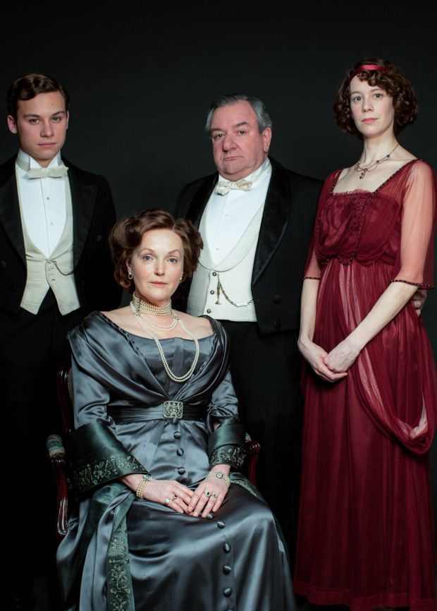 An Inspector Calls Finn Cole as Eric Birling (far left), Miranda Richardson as