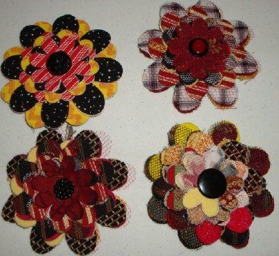 Fabric flower brooches using thrift store upholstery/designer samples fabrics