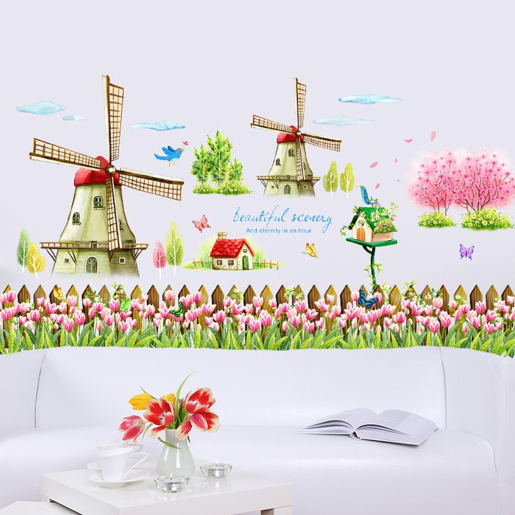 Classic Holland windmill pink tulip flower flying bird wall sticker for living room background removable decal home decor #Affiliate