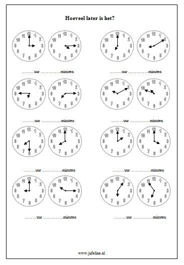Domein: Meten. Onderdeel: Tijd. Doel: Analoge kloktijden aflezen.