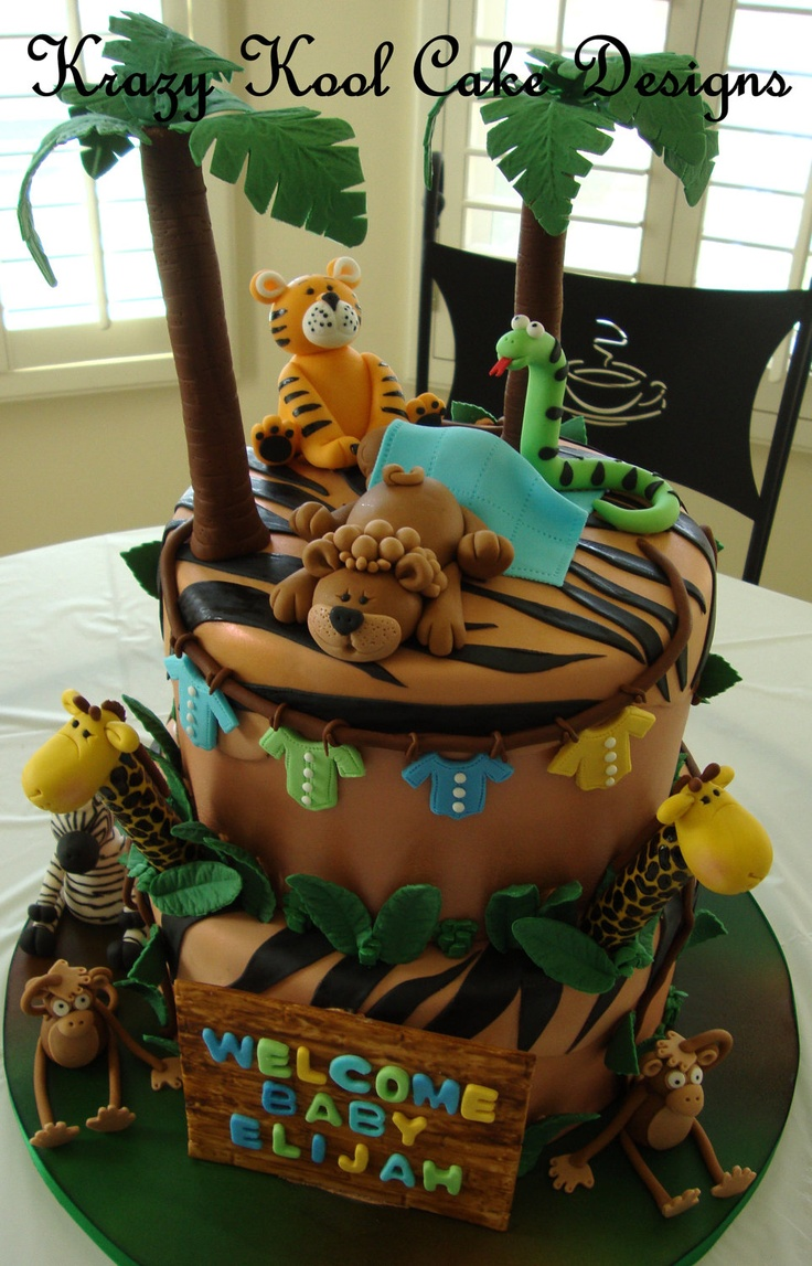96 best images about animal zoo cakes on pinterest for Baby shower party junge