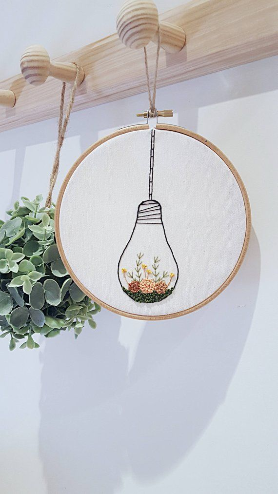 Embroidery decor, flower embroidery decor, modern embroidery, chabby chic decor, light bulb hanging