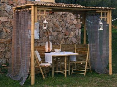 bamboo pergola cette pergola originale et naturelle vous offrira un espace ombrag. Black Bedroom Furniture Sets. Home Design Ideas