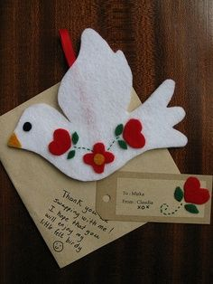 Easter crafts - dove with flower decoration