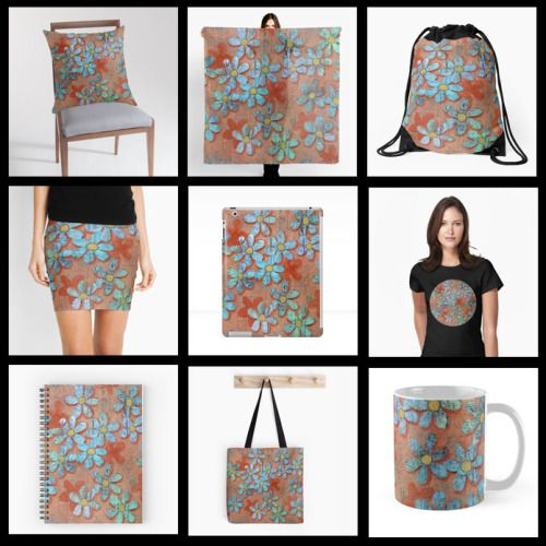 Grungy Daisies is now available on a variety of merchandise in my RedBubble shop.
