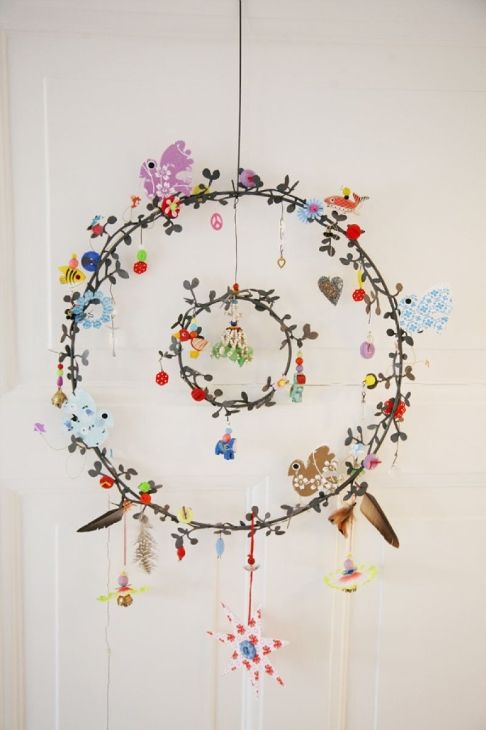 Ornament #spring #ornament so this is just a painting but I want a very delicate wreath like this I love the multi hoop & small charms