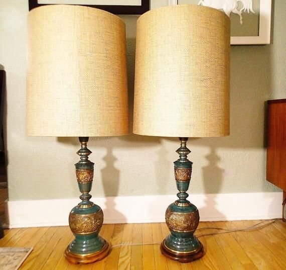 James Mont Style Asian Influence Table Lamps Enameled Brass Embossed Asian Phoenix Bird Rising Antique Lamp Shades Vintage Table Lamp Hanging Lamp Shade
