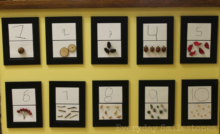 Glue actual small objects instead of taking pictures (to replace picture number line that did not work) use recycled objects and nature objects.  Give children tray of objects to choose from.  (Nature Numbers Made by Children | Everyday Smilestones