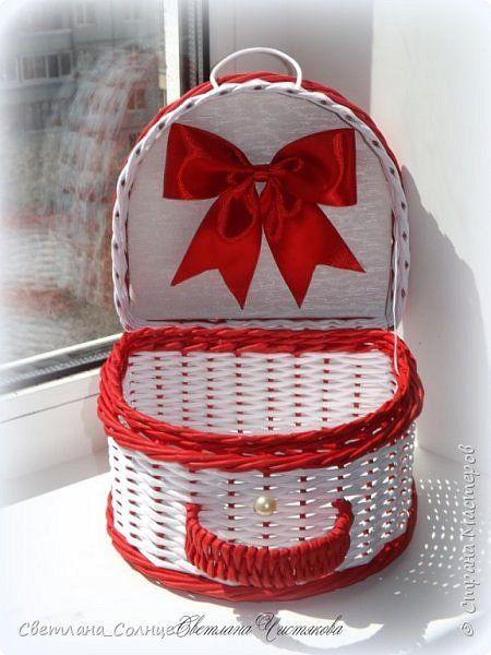 Поделка изделие Плетение Чемодан и чемоданчик Бумага Бумага газетная фото 12