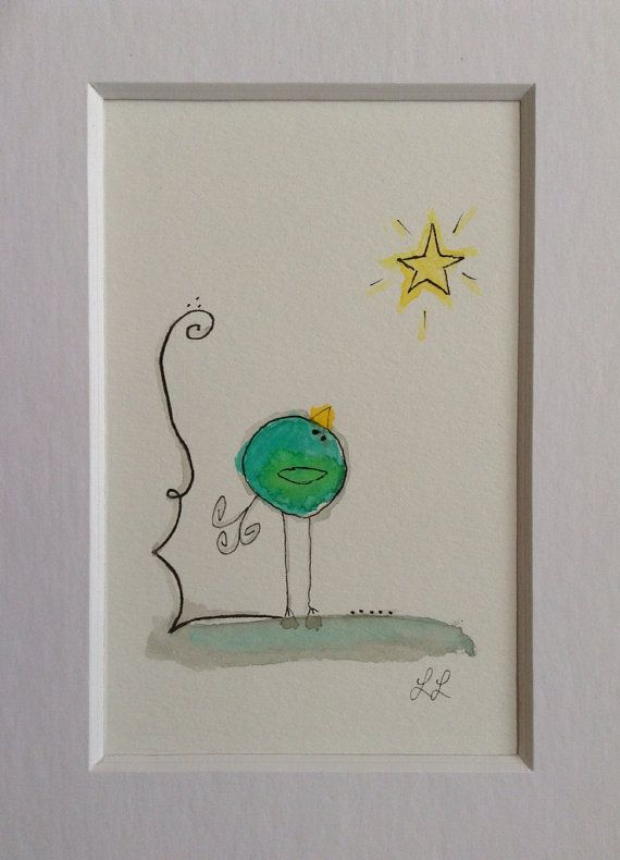 Whimsical Handmade Watercolor Bird Star by FoundSerendipity
