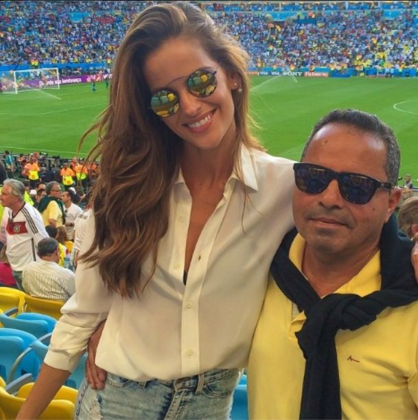 Top Model Iza Goulart wearing her Met-ro Blue frames w/ Gold Lens by Spektre during this summer's World Cup!