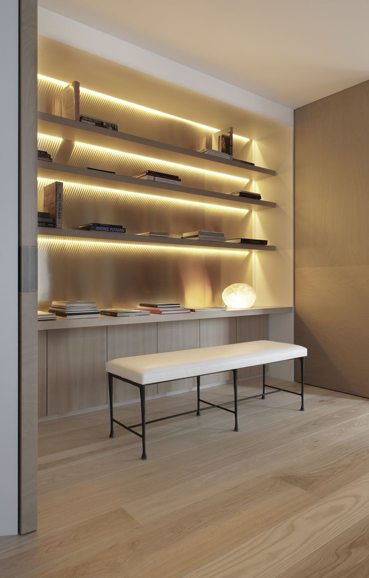 lit up shelving unit