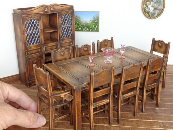 Country Dining Set All Made Out Of Cherry Wood By Lynn Jowers Miniatures Perfectly Small