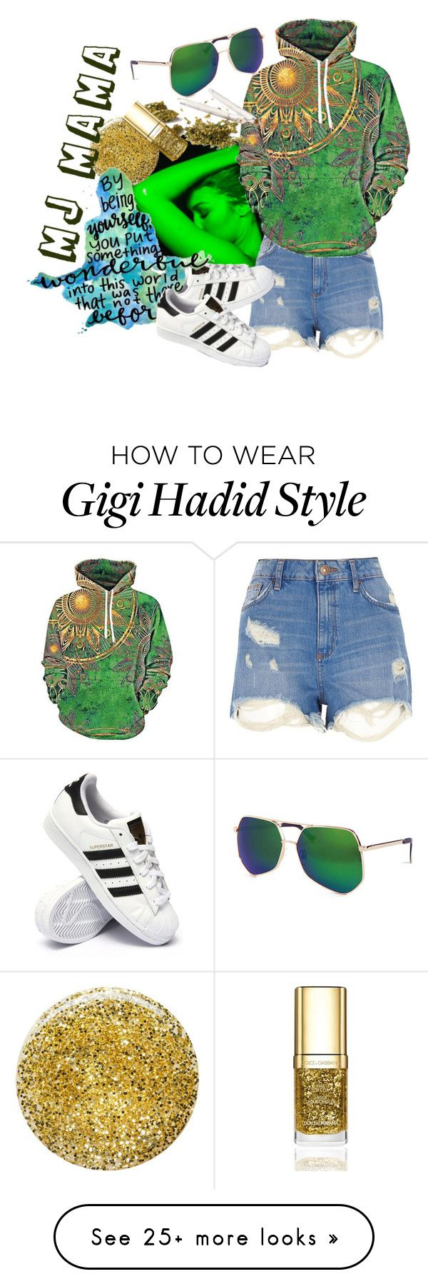 """hey DJ, go MJ!"" by babnovas on Polyvore featuring River Island, adidas, Burberry, Dolce&Gabbana, Grey Ant and emeraldgreen"