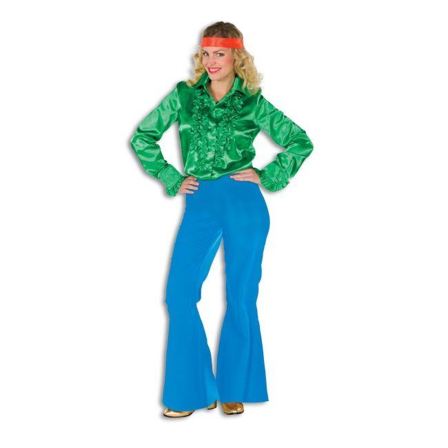 Blauwe verkleed broeken wijd uitlopend voor dames