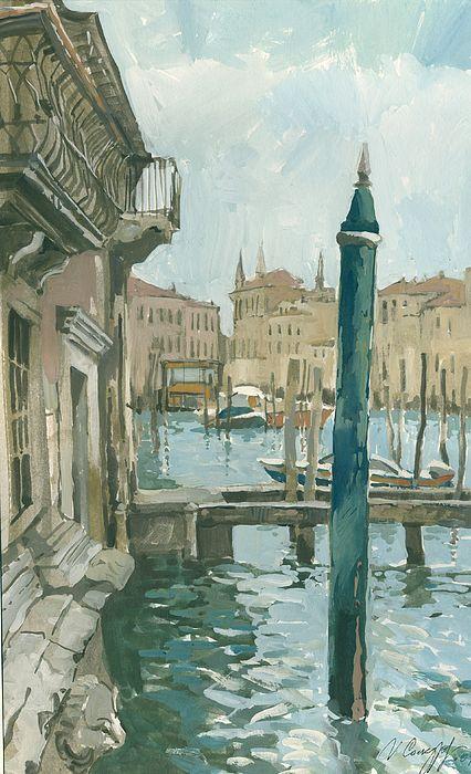Venice. Blue Day by Igor Sakurov. #Venice #RussianArtistsNewWave #IgorSakurov #BridheOfSights #OldEurope #Painting #ArtForSale #HighEndArt #Italy #Gondola #Europe #OriginalPainting #ArtForSale