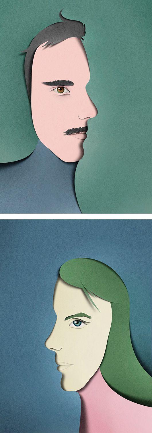 Utilizaremos una foto de cada uno de los niños de la clase, y taparemos la mitad. Acto después reflexionaremos con ellos, por qué se tapa la cara, de forma que trabajemos las emociones. cut paper illustrations | Paper Cut Illustrations by Eiko Ojala | Inspiration Grid | Design ...