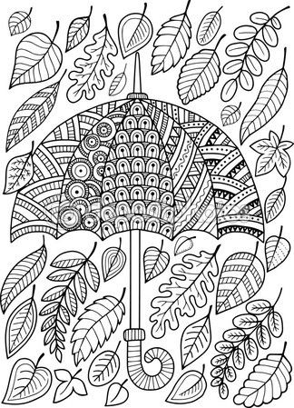 Me encanta la lluvia de otoño. Libro para colorear para adultos — Vector de stock #105460472