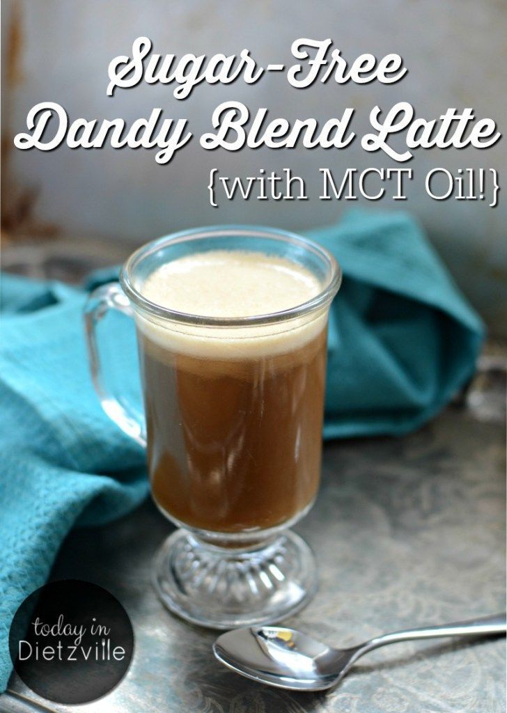"""Sugar-Free Dandy Blend Latte {with MCT Oil!}   Dandy Blend, an herbal coffee substitute, is full of liver-loving dandelion root and chicory, yet has no caffeine or acidity. By adding collagen, maca powder, and healthy fats, and then blending, I'm left with a dairy-free, sugar-free """"latte"""" that's delicious and has no ill side effects!   http://TodayInDietzville.com"""