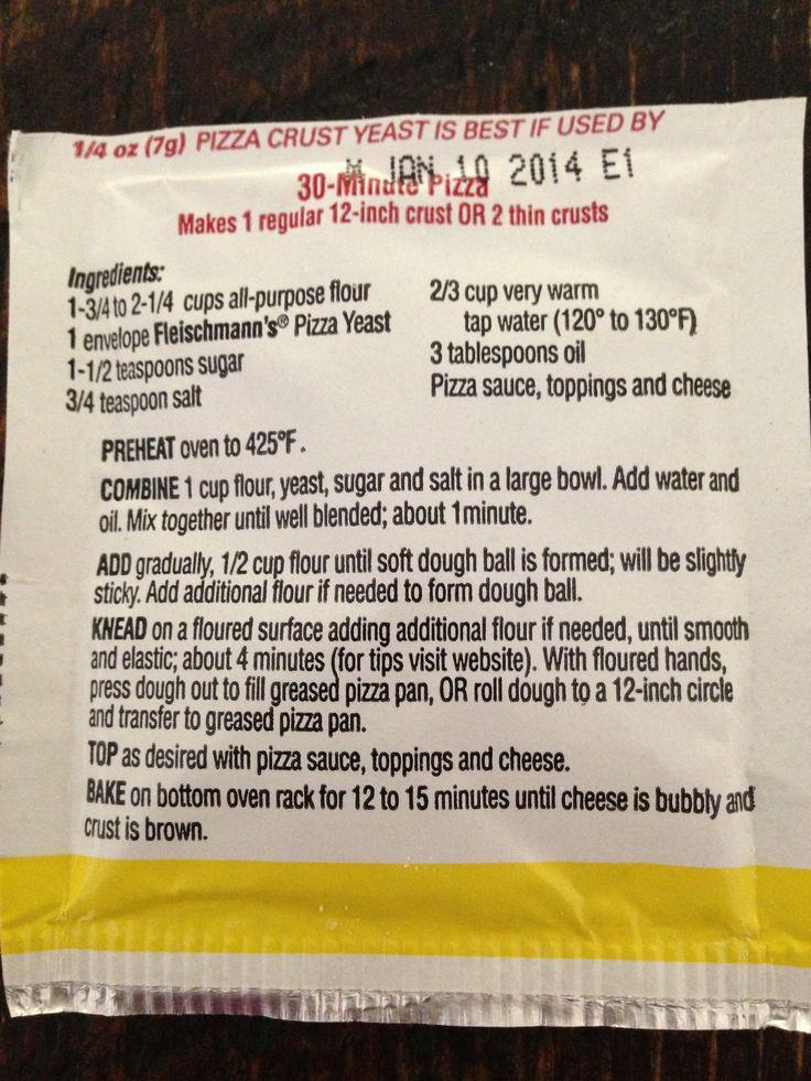 Fleischmann's Pizza Crust yeast. Recipe on package. Used