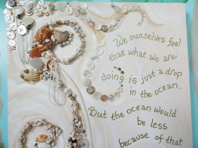 Shabby seashell art original with quote vintage jewelry for Seashell art projects