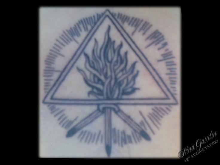 Black Symmetry line fire triangle rays - Tattoo by Nina Gaudin of 12th Avenue Tattoo in Nampa, ID
