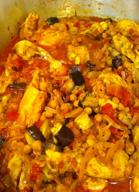 Moroccan Chicken with Eggplant, Tomatoes & Almonds