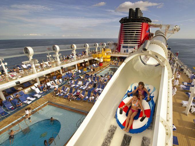 The AquaDuck on Disney Dream and Disney Fantasy cruise ships is four decks high.