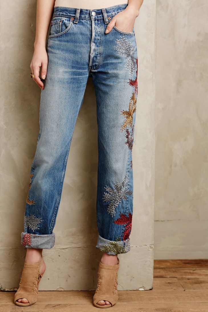 Embroidered jeans going to be huge this summer! Get inspired