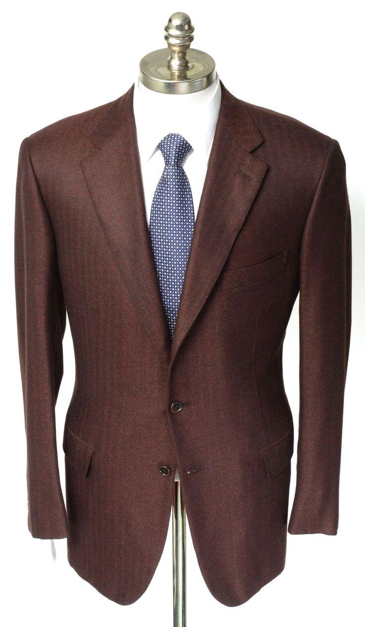 New BRIONI Red Herringbone 100 Cashmere Coat Jacket