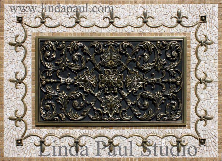 ravenna metal plaque and medallion backsplash kitchen