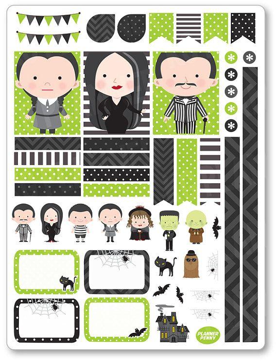 Decoración familia Spooky Kit / extensión semanal planificador pegatinas para el…                                                                                                                                                                                 Más