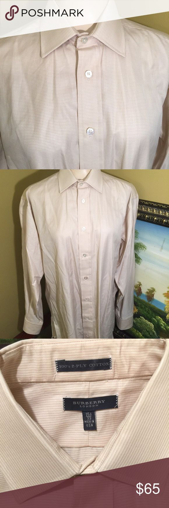 BURBERRY SHIRT 100's 2-PLY COTTON Beautiful BURBERRY shirt made in USA 2 PLY Cotton excellent condition Burberry Shirts Tees - Long Sleeve