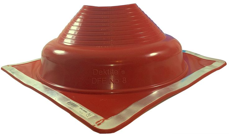 Dektite Premium 8 Red Silicone Metal Roof Pipe Flashing, High Temp, Square Base, Pipe Sizes 7' to 13' * For more information, visit image link.