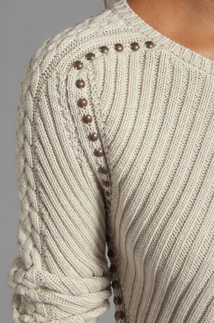 Autumn Cashmere Studded Rib Cable Crew Sweater in Hemp | REVOLVE