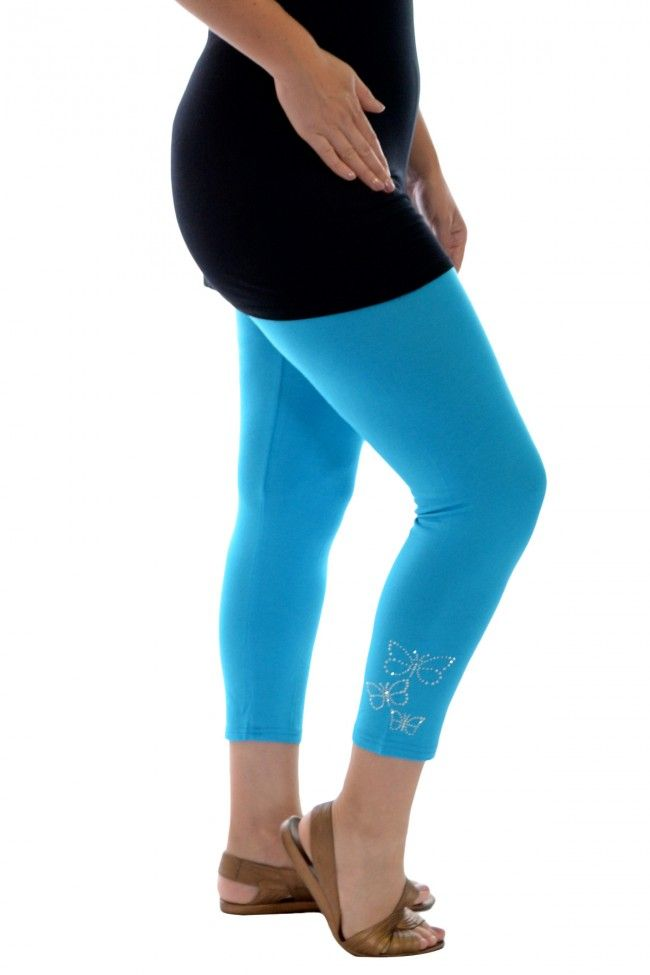 PRE ORDER: Embellished Butterfly Foil Cropped Leggings-Turquoise