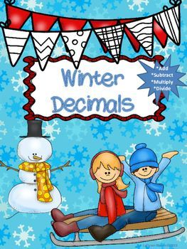 """Winter Decimals"" contains 4 ready to go printables that are perfect for reviewing decimal operations.  Concepts include adding, subtracting, multiplying, and dividing decimals.  Students are also asked to round quotients to the nearest hundredth when necessary."