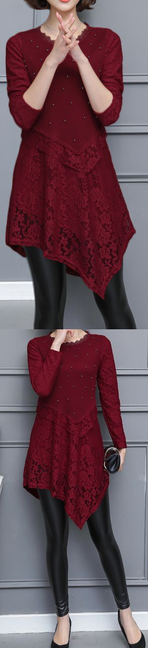 2017 fall red casual patchwork lace dresses loose slim long sleeve cute elegant dress