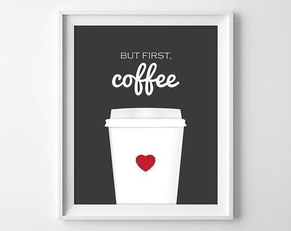 But First Coffee Art Print Coffee Wall Art by ClaresPrintables