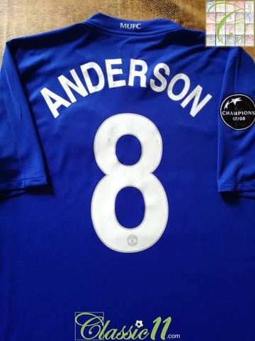 8c93e537851 Official Nike Manchester United 3rd kit football shirt from the 2008 09  season. Complete with Anderson  8 on the back of the shirt in European  lettering and ...
