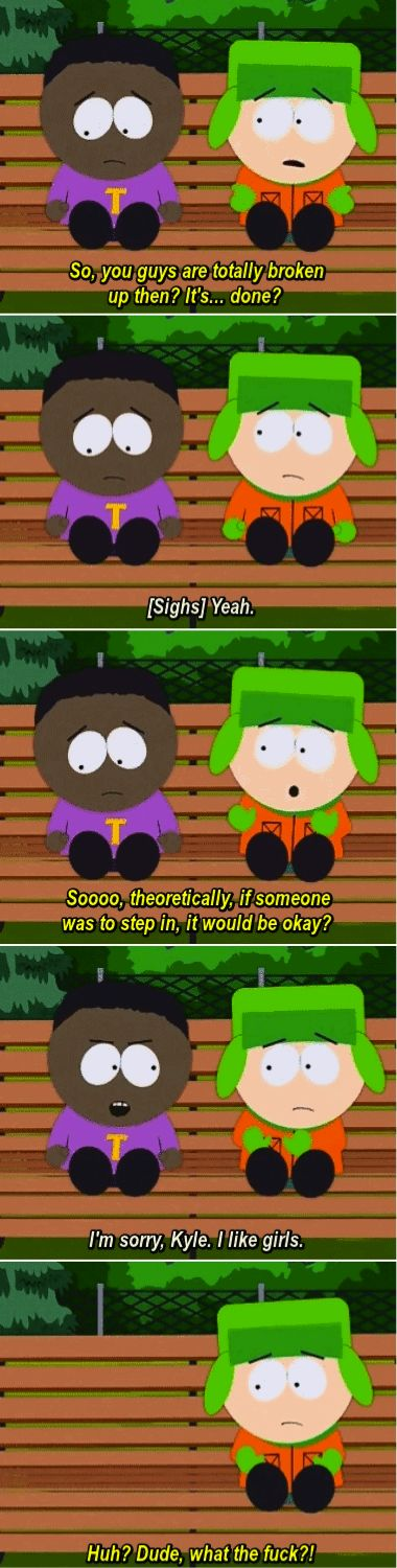 South Park • Kyle and Token talking!! This is the episode where a girl likes Kyle and Cartman wanted her to go out with Token.