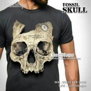 KAOS3D, Kaos FOSIL, Kaos ANTROPOLOGI, Fossil T-shirt, Pre History T-shirt, Kaos TENGKORAK MANUSIA, Human Skull, https://instagram.com/kaos3dbagus, WA : 08222 128 3456, LINE : kaos3dbagus