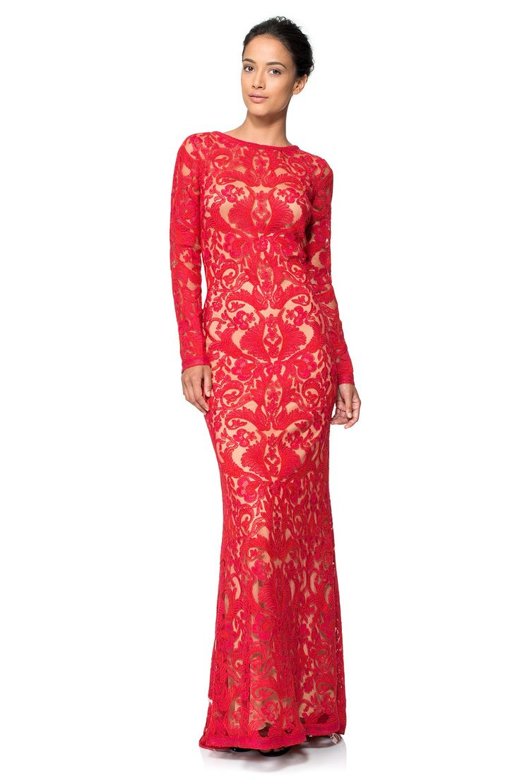 Corded Embroidery on Tulle Long Sleeve Gown | Tadashi Shoji