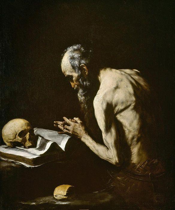 José de Ribera - Saint Paul the Hermit (San Pablo ermitaño) 1635 - 1640. Oil on canvas, 118 x 98 cm. Colección - Museo Nacional del Prado. Madrid. Spain