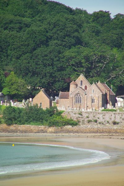 St Brelade Parish Church , Jersey, The Channel Islands, UK the church was first recorded in 1035 but is thought to be somewhat older